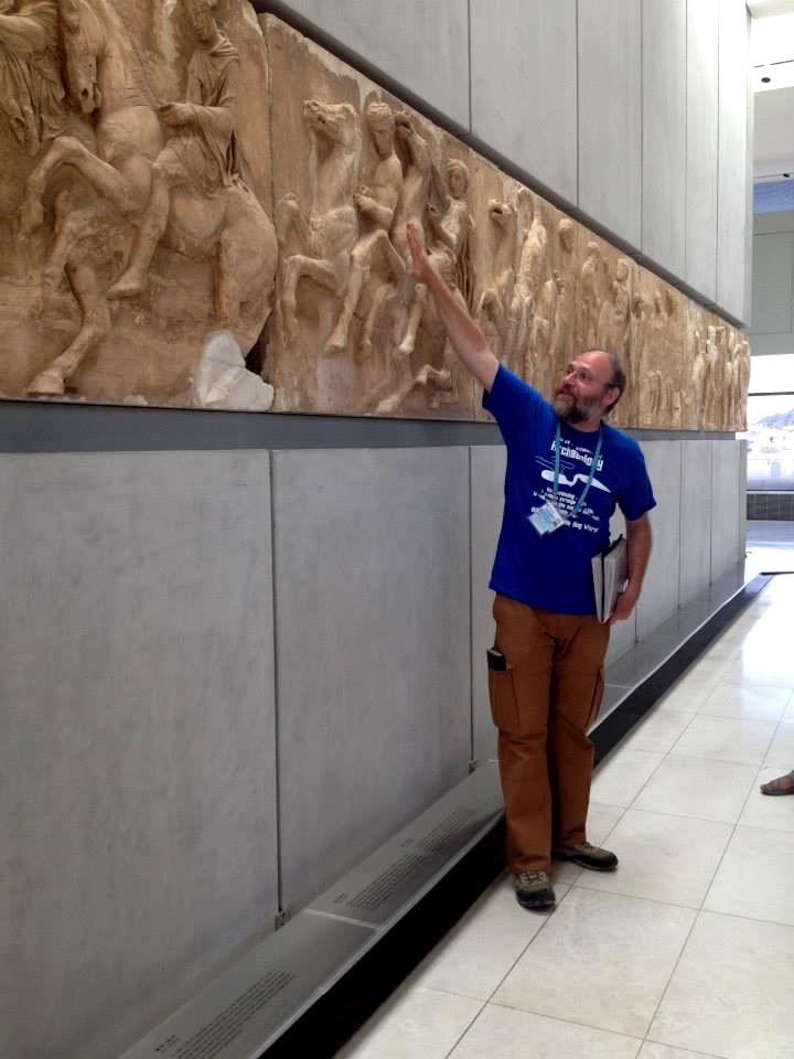 Picture of myself explaining the Parthenon frieze at the New Acropolis Museum.