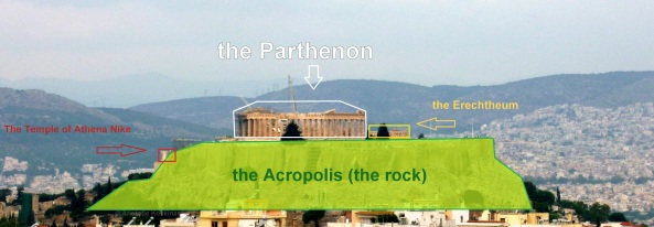 The rocky hill of the Acropolis as seen from the Southeast.